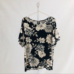 Agnes & Dora Floral Frill Sleeve Top